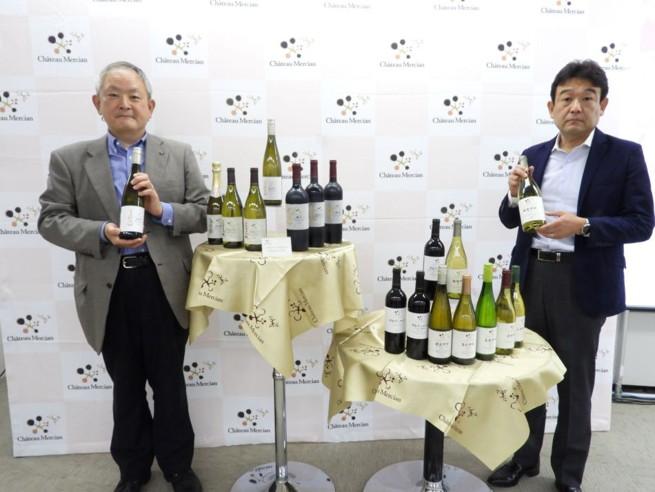 (left) Mr.M.Anzo, General Manager of Château Mercian, and  Mr.A. Yamaguchi, General Manager of Marketing at Mercian (pic: Mari Yasuda)