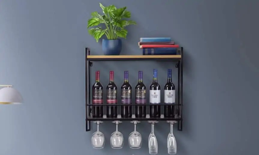 best wall wine racks with glass holders