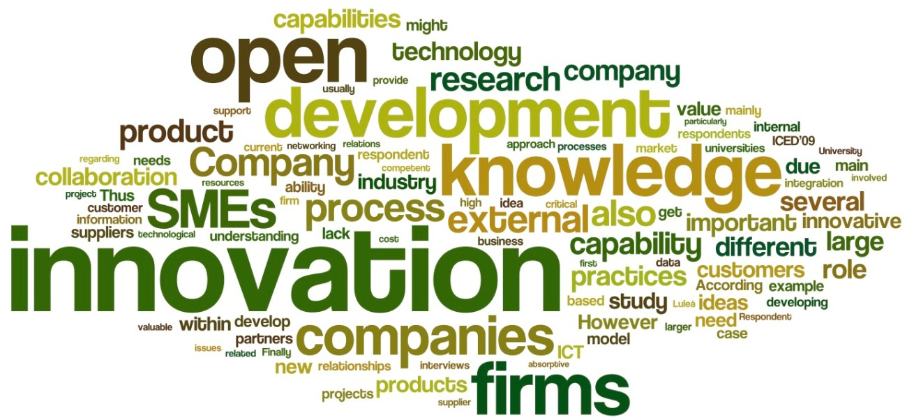 ParidaLarssonEtAl-ImplementationOfOpenInnovationPracticesInSwedishManufacturingIndustry-2009-wordle