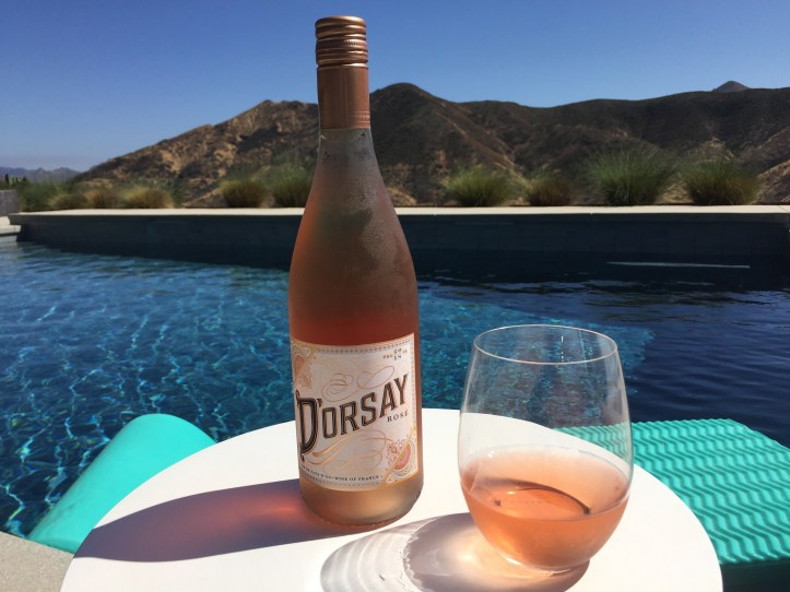 Bottle and glass of D'Orsay French Rose from Costco.