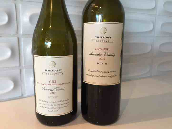 Bottle of Trader Joe's GSM (L) and Zinfandel (R)