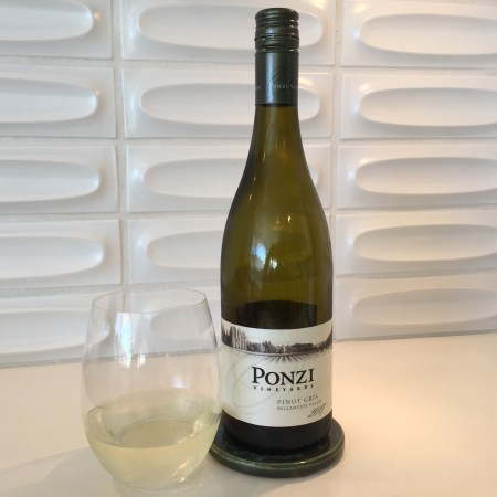 Bottle and glass of Ponzi Pinot Gris