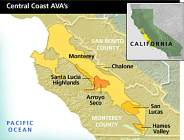 Map of Central Coast wine growing regions including Arroyo Seco