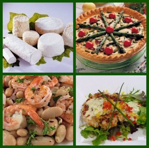 Selection of goat cheese, asparagus quiche, salmon & scallop cakes, shrimp & cannellini beans