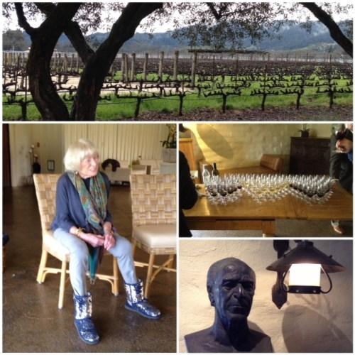 From top, clockwise: To Kalon Vineyard @ Robert Mondavi Winery; tasting; homage to Mr. Mondavi; Margrit Mondavi