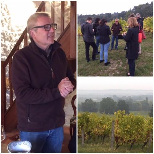 Winemaker Bruno Bilancini; Wine Scholar Guild study group led by Andrew Jefford; misty morning in Monbazillac