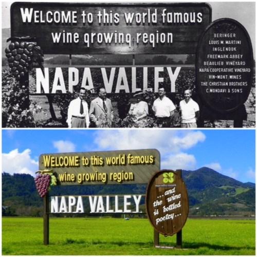 "Top photo L-R: Robert Mondavi (C. Mondavi and Sons/Charles Krug), Charles Forni (Napa Cooperative Vineyard), Madame Fernande de Latour (Beaulieu Vineyard), John Daniel, Jr. (Inglenook), and Al Huntsinger (Vin-Mont/Napa Cooperative Winery). Source: ""Bottled Poetry: Napa Winemaking from Prohibition to the Modern Era,"" courtesy of the Napa Valley Wine Library Association/St. Helena Public Library. Bottom photo credit: palatepress.com"