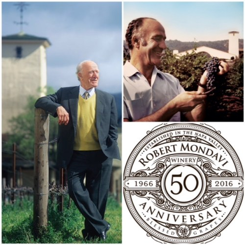 Robert Mondavi – happy in the vineyard (1966), and on top of his game (1990), for over four decades when most people would have retired or considered an encore career! The Winery's 50th anniversary logo (2016)