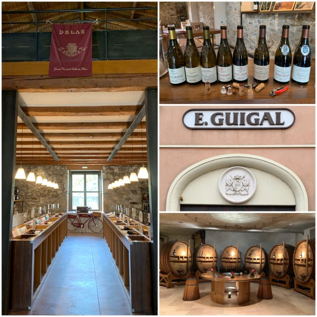 Logos, bottles and barrels at Delas Freres and E. Guigal.