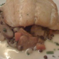 Grouper with warm lentil salad
