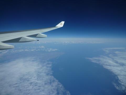 飞机进入欧洲,漂亮的海湾