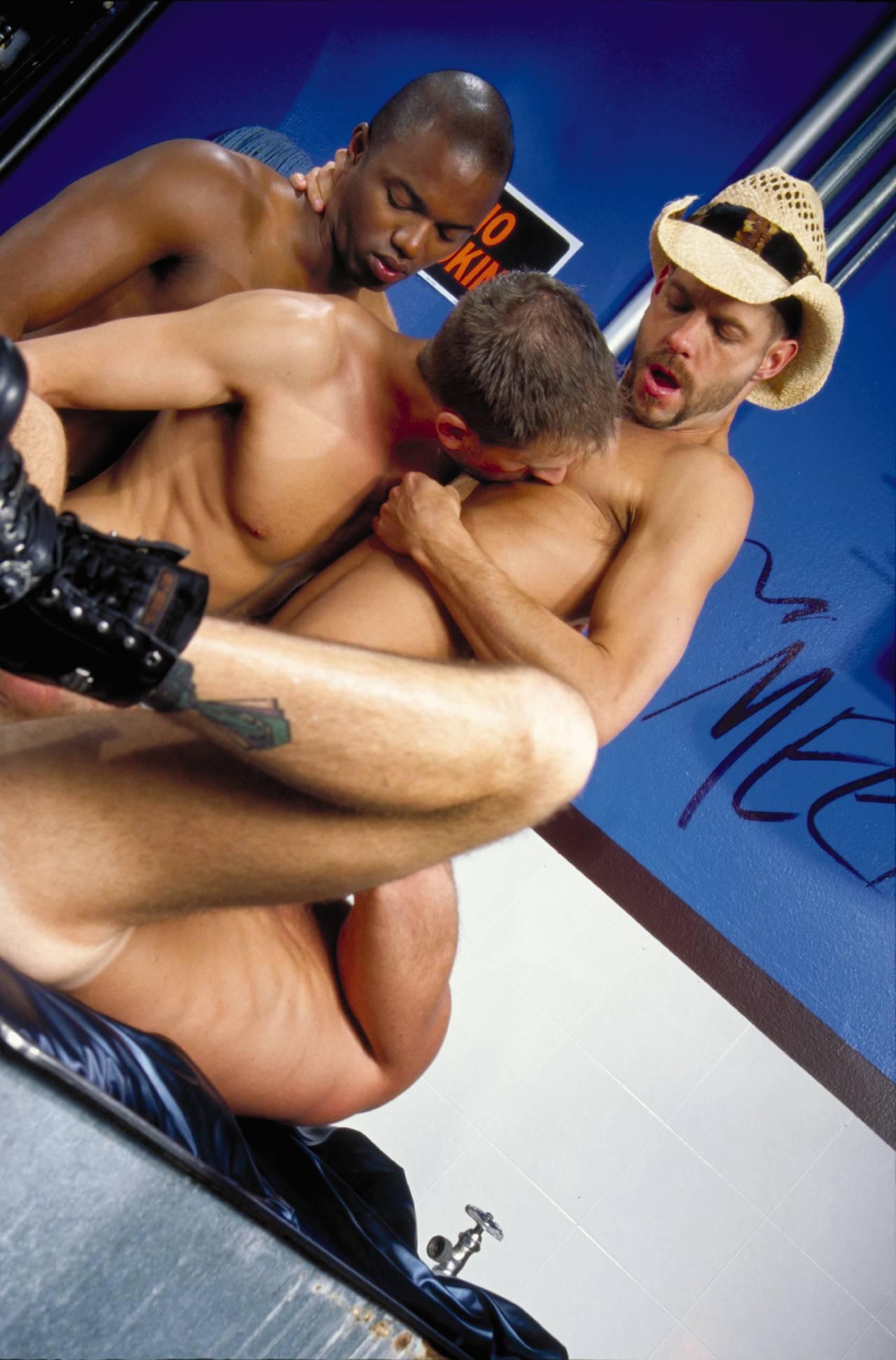 Erik Campbell and Michael Brandon fuck Jason Dean and Tag Adams gay hot daddy dude men porn public toilet Pokin' in the Boys Room