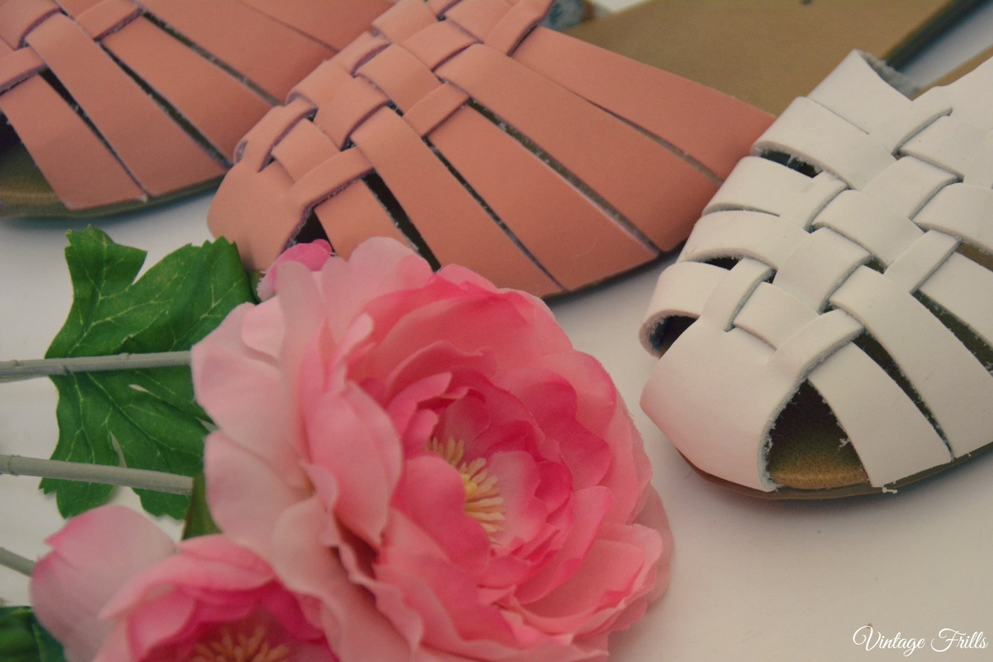 Primary Pink and White Sandals