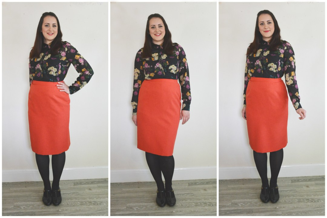 Charity Shop Floral Blouse Red Pencil Skirt