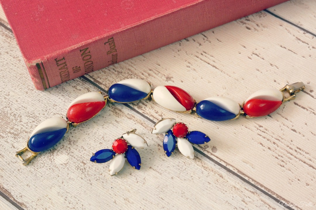 Red, White and Blue Bracelet and Earrings