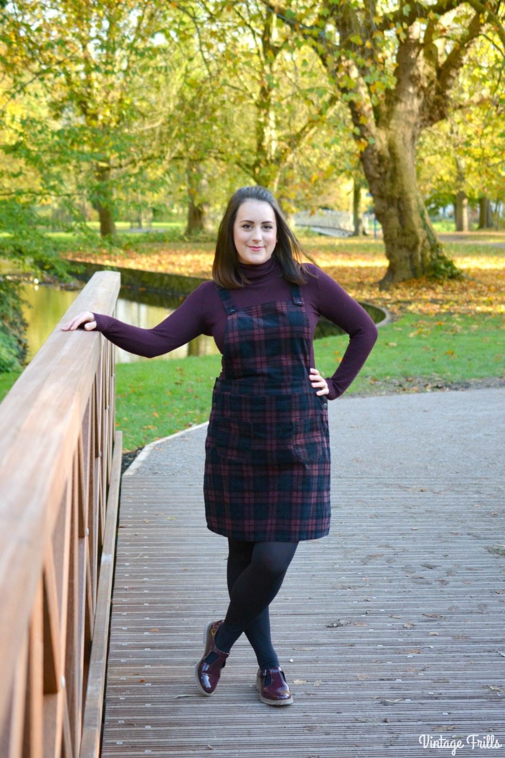 sainsburys-tartan-dungaree-dress-ootd