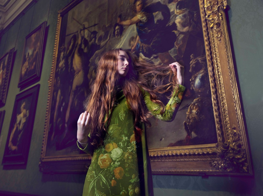 Hair styled by Blue Tit Salon at the National Gallery on the occasion of 'Reflections: Van Eyck and the Pre-Raphaelites'. Photograph: Sandra Vijandi.