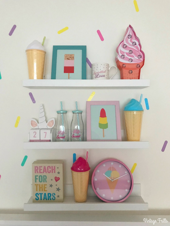 Ice Cream Theme | Ice Cream Themed Girls Room Shelves