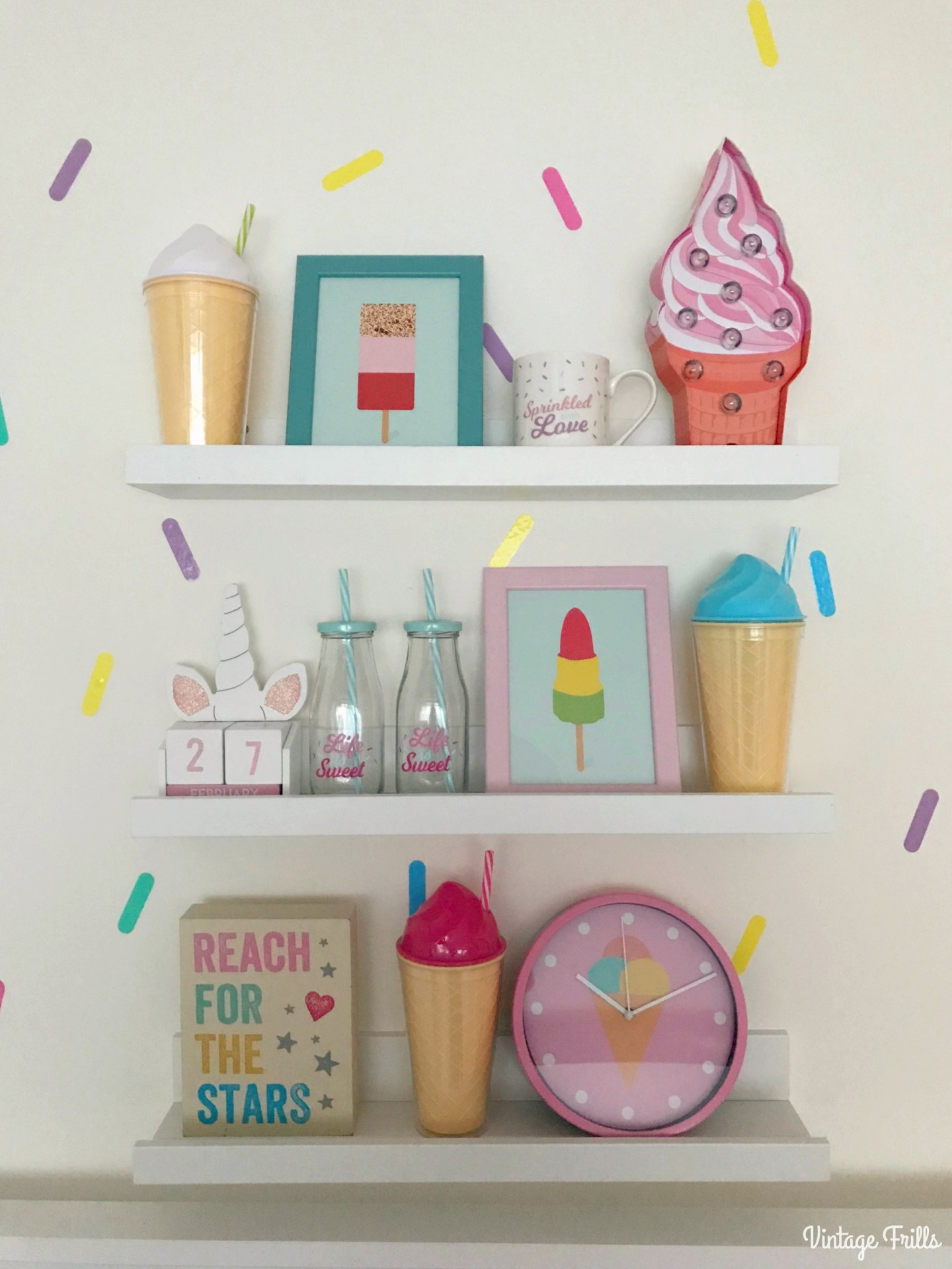 Ice Cream Theme | Ice Cream Themed Girls Room Shelves