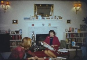 A still shot from a vintage home movie taken in Onslow Square, London during Christmas 1966.