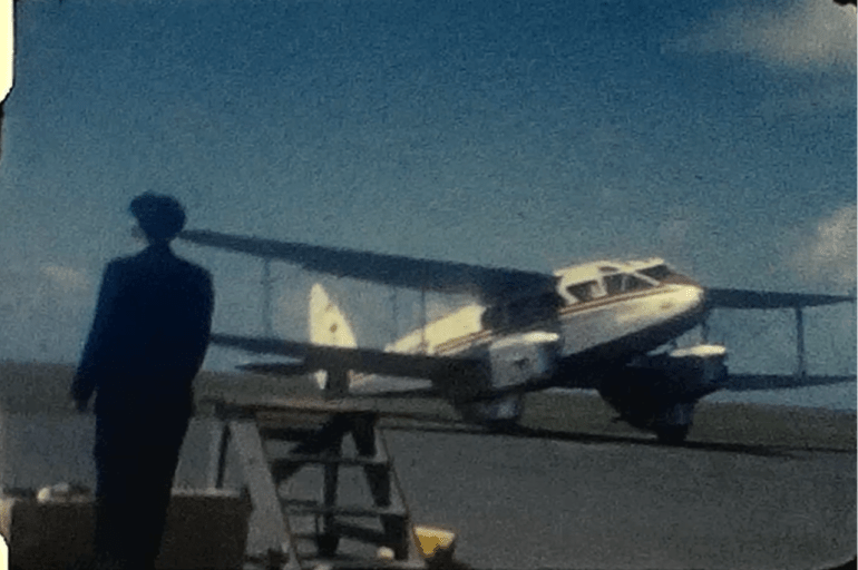 A still from a vintage home movie of a summer holiday in the late 1950s