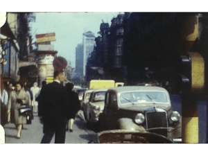 A Still image of a street in Brussels from a vintage home movie