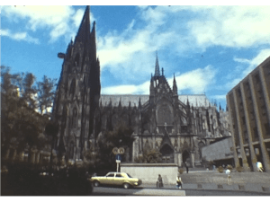 A still image of cologne cathedral in 1982 from a european river cruise vintage home movie