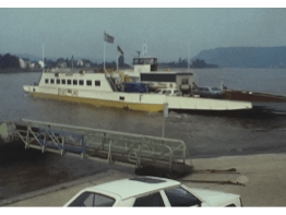 A Car Ferry on the Rhine during a holiday in germany in June 1986