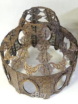 Antique Vtg Victorian Art Deco Brass Filigree Lamp Shade