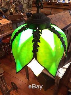 Vintage Green Amp Carmel Tulip Petal Shaped Stained Glass