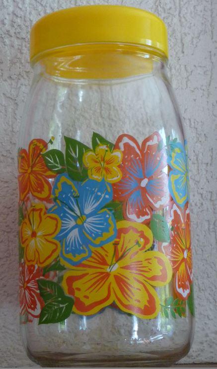 Bocal en verre VMC Reims à fleurs et à couvercle jaune