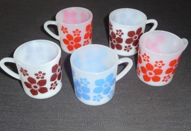petite tasse à café Arcopal vintage expresso fleur bleu marron rouge