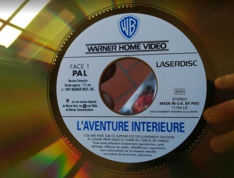 étiquette du LaserDisc de L'aventure intérieure