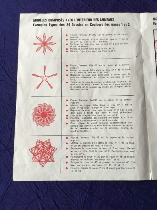 Spirograph vintage Denys Fisher années 60 notice 2
