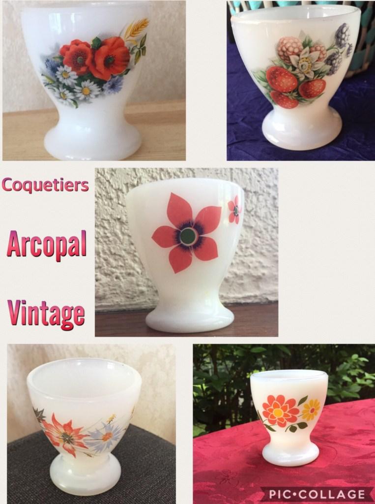 Coquetier Arcopal vintage fruit fleur