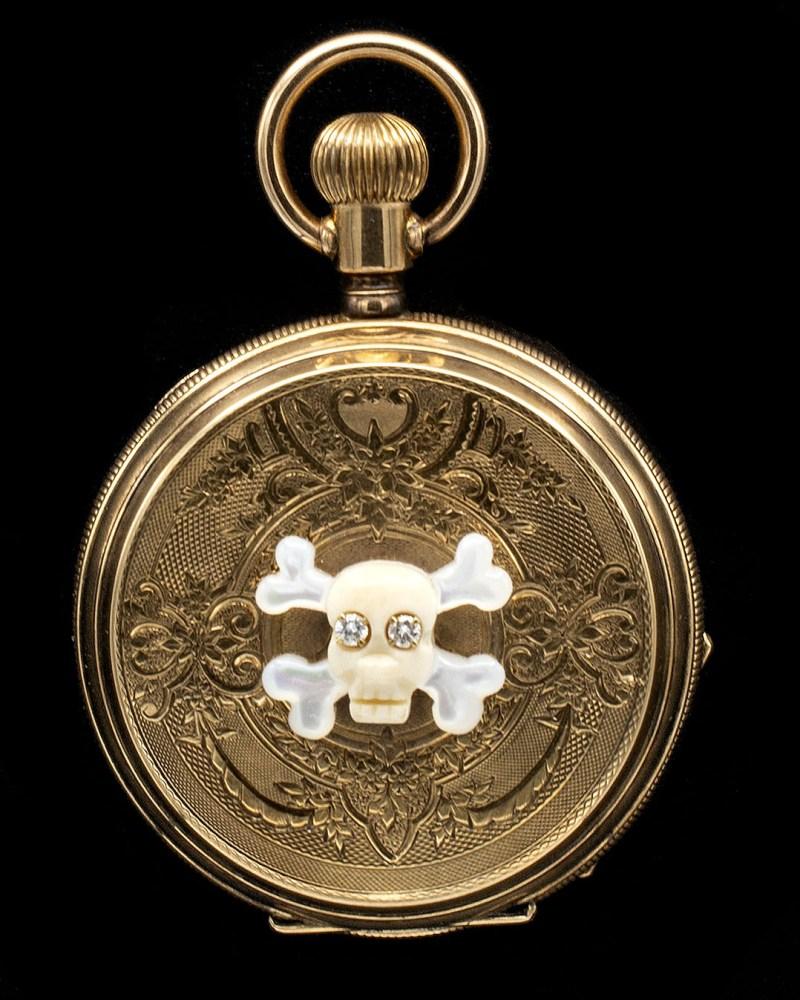 14K Victorian pillbox pendant diamond eye mori