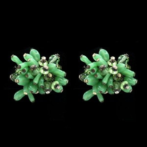 MIRIAM HASKELL Vintage Earrings Fern Green Art Glass Beads Silver Filigree