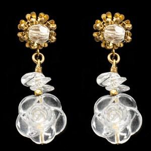 MIRIAM HASKELL Lucite Flower Dangle Earrings