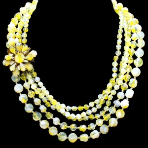 Miriam Haskell four strand yellow and white beadnecklace