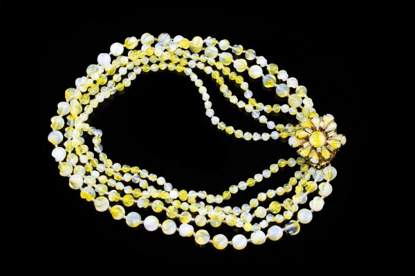 Miriam Haskell necklace. Yellow and white beads.