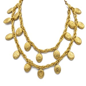 """28431 - Chanel 36"""" Chain Necklace with """"Chanel"""" Oval Embossed Charms, 1985"""