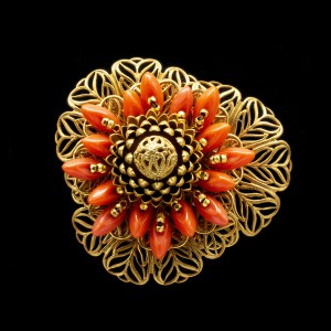 Miriam Haskell Coral Glass Brooch