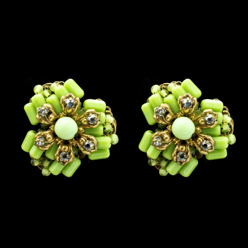 Miriam Haskell green glass earrings