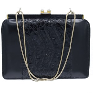 28453 - Black Calf & Alligator Leather Clam Shell Clutch with Serpentine Chain Strap