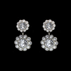 31199 - Revival Paste Double Rosette Drop Earrings