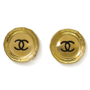 26829 - Chanel Disc Earrings with Black Enamel Inset Logo, 1988