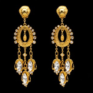 30646 - Gilt & Paste Girandole Earrings, 1990