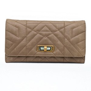 32216 - Lanvin Mocha Leather Quilted Wallet