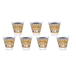 26116 2 - Fred Press Gold & Black Cordial Glasses. Set of Six (6)