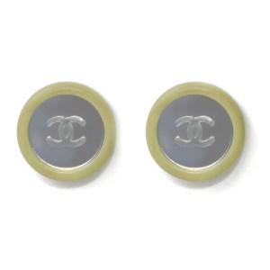 Chanel Green Framed Mirror Earrings